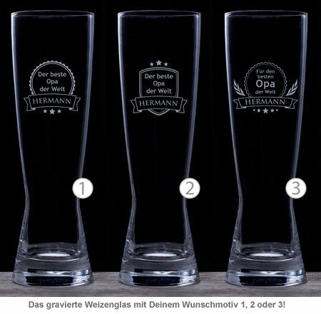 Weizenglas mit Gravur - Bester Opa - 2