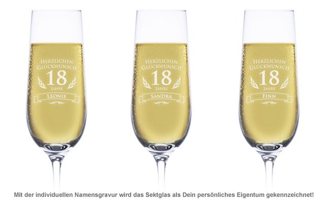 Sektglas zum 18. Geburtstag - 2