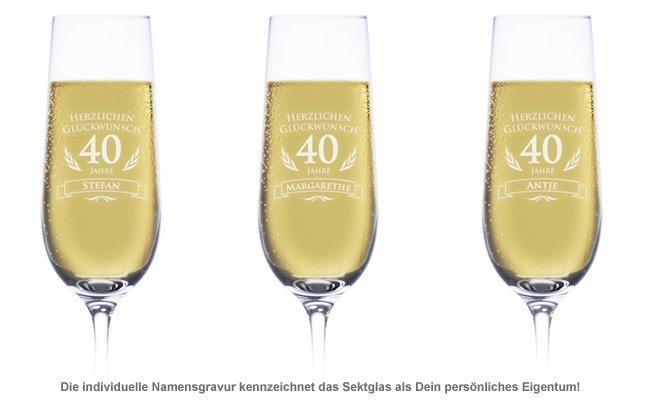 Sektglas zum 40. Geburtstag - 2