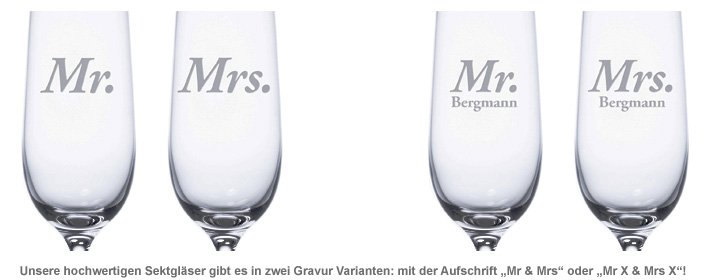 Sektgläser - Mr and Mrs - 2