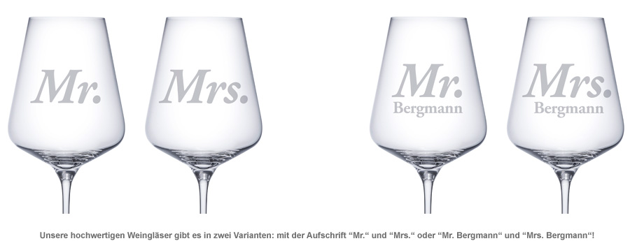 Weingläser - Mr and Mrs - 2