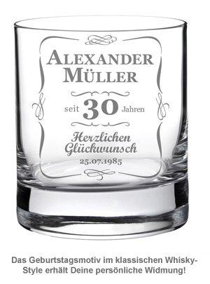 Whiskyglas 30. Geburtstag - klassisch - 2