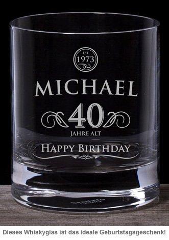 Whiskyglas 40. Geburtstag - elegant - 2