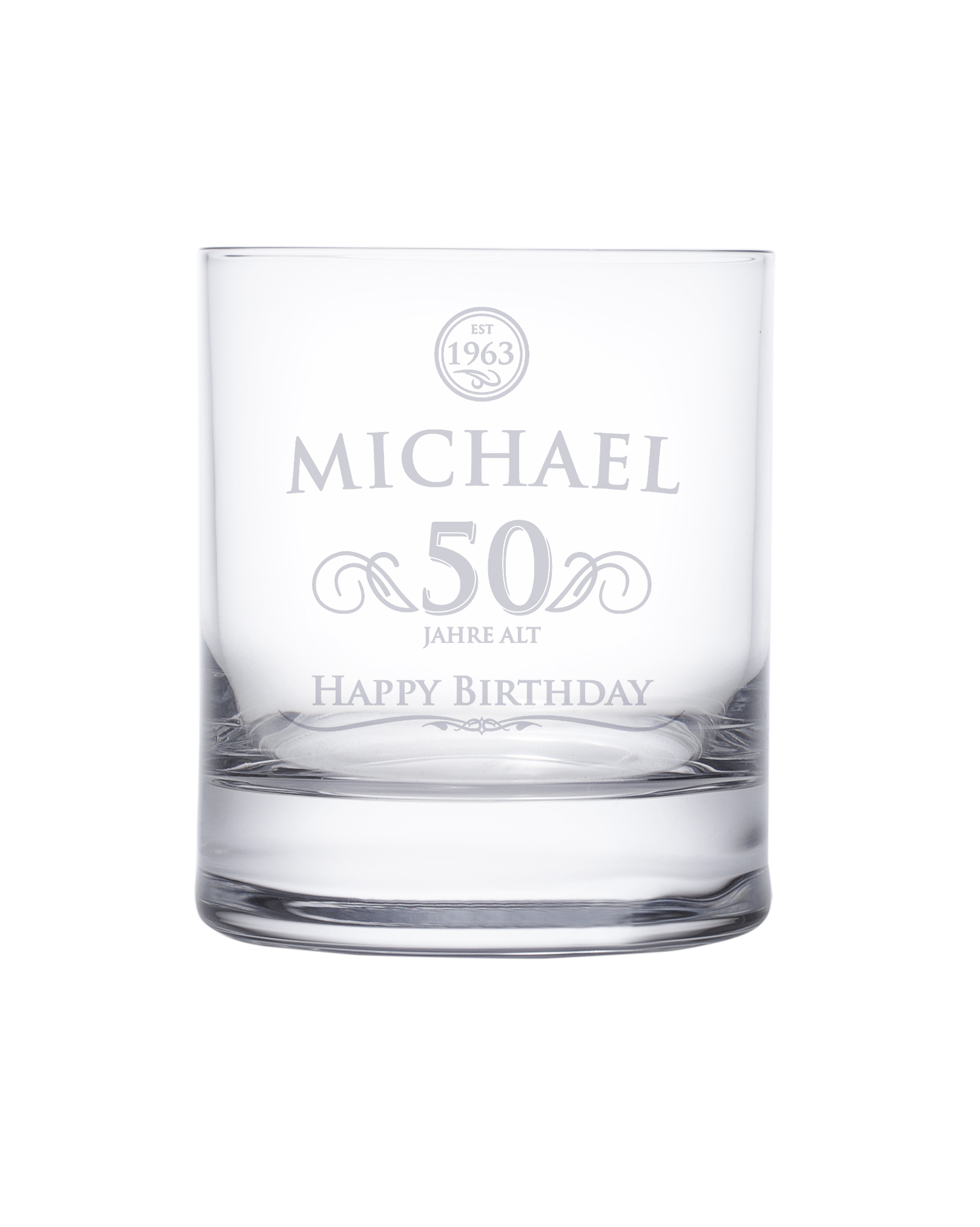 Whiskyglas 50. Geburtstag - elegant - 2