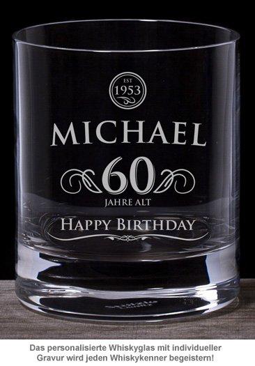 Whiskyglas 60. Geburtstag - elegant - 2