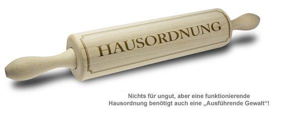 Nudelholz mit Gravur - Hausordnung - 2