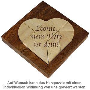 Mini Holz Puzzle - Herz - 3