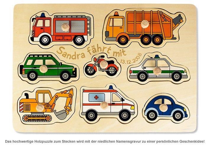 Personalisierbares Puzzle zum Stecken - Autos - 2