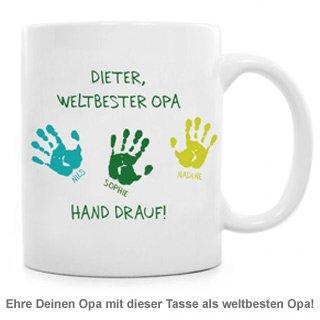 Tasse für Opa - Hand drauf - 2