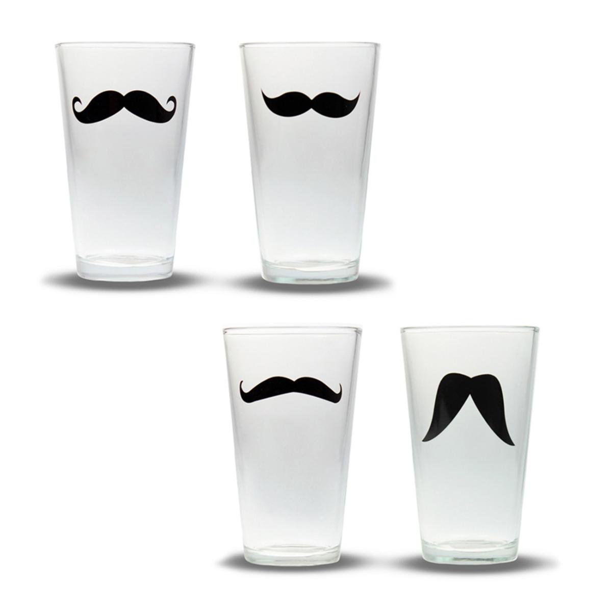 Schnurrbart Gläser - 4er Set - 2