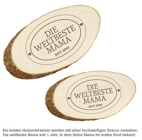 Holzuntersetzer mit Gravur - Die Weltbeste Mama - 2