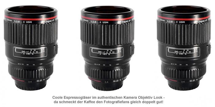 Kamera Objektiv Espressogläser - 2