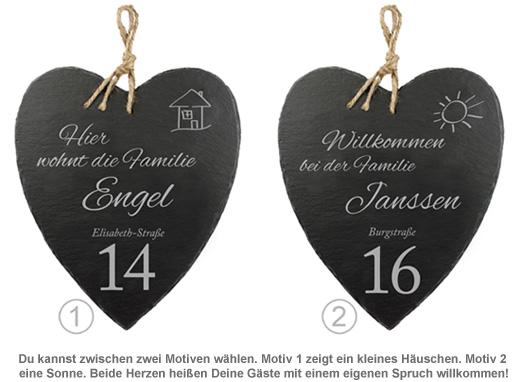 Schieferherz Hausnummer - personalisiert - 2