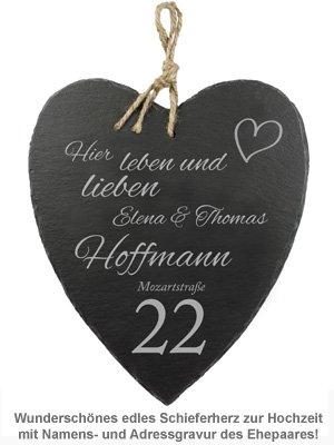 Schieferherz zur Hochzeit - Hausnummer - 2