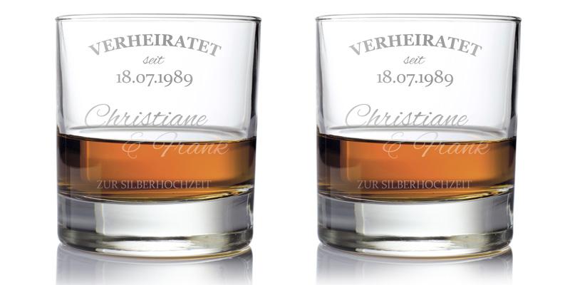 whiskygl ser zur silberhochzeit pers nlich f r das brautpaar. Black Bedroom Furniture Sets. Home Design Ideas