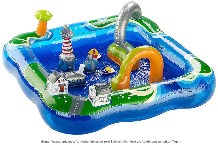 aufblasbares planschbecken hafen inklusive zwei motorboote. Black Bedroom Furniture Sets. Home Design Ideas