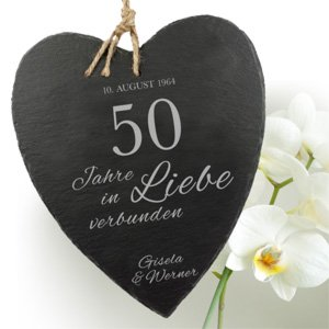Schieferherz zur Goldenen Hochzeit - 3