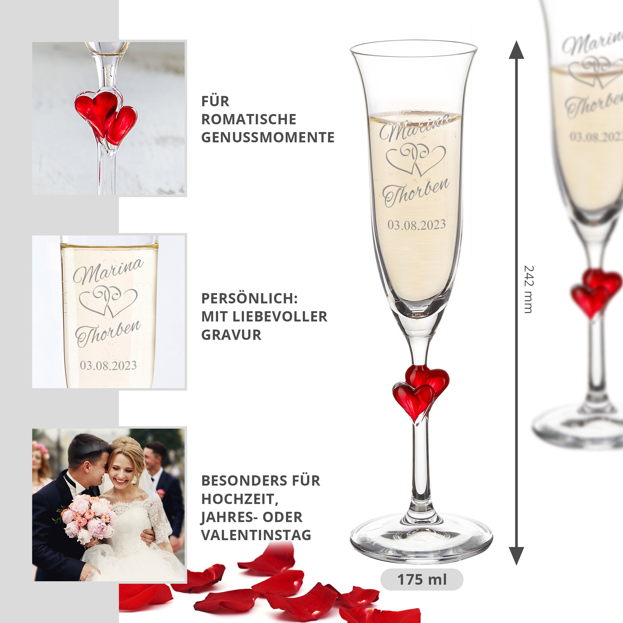 Herzen Sektgläser zur Hochzeit - 2