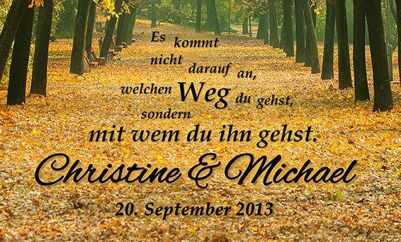 Gemeinsamer Weg Herbstbild - personalisiert - 3