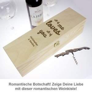 Personalisierte Weinkiste - Liebesbotschaft - 3