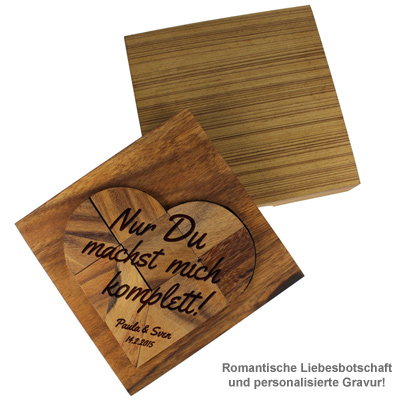 Graviertes Holz Puzzle Herz - Nur Du - 2