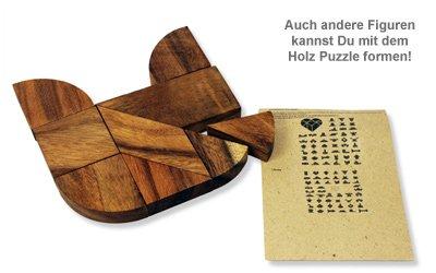 Graviertes Holz Puzzle Herz - Nur Du - 3
