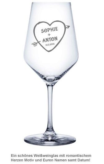 Weißweinglas mit Gravur - Amors Pfeil - 2