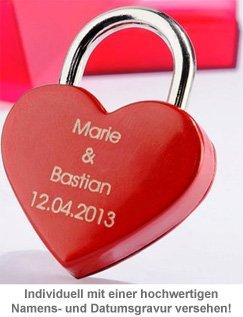 Liebesschloss mit Gravur - Rotes Herz - 2