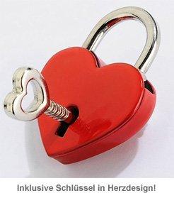 Liebesschloss mit Gravur - Rotes Herz - 3