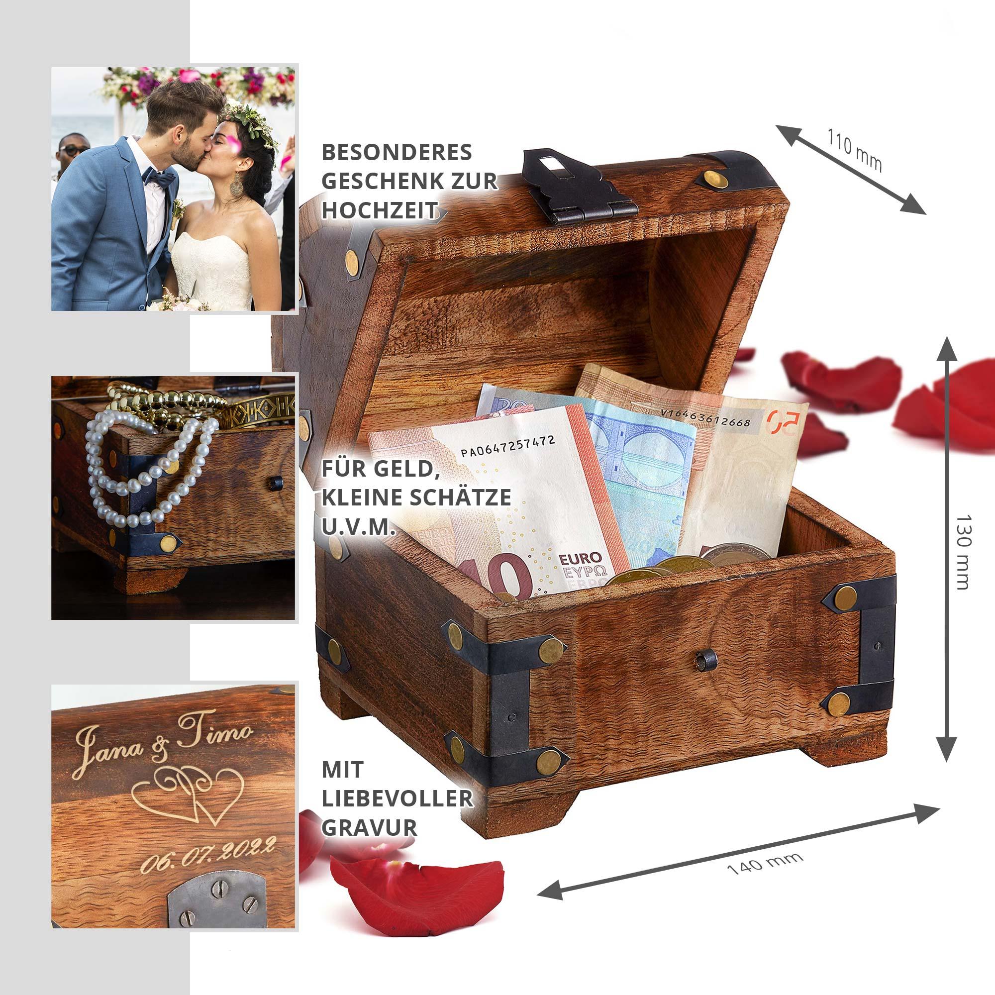 Geld Schatztruhe zur Hochzeit Dunkel - 2