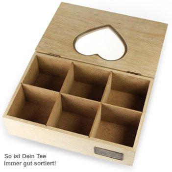 Gravierte Teebox aus Holz - Herz - 3