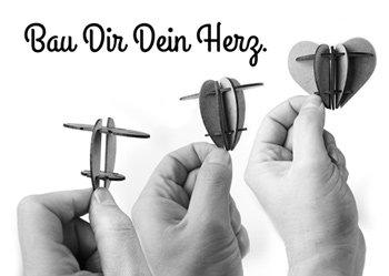 Postkarte 3D Herz aus Holz zum Muttertag - 4