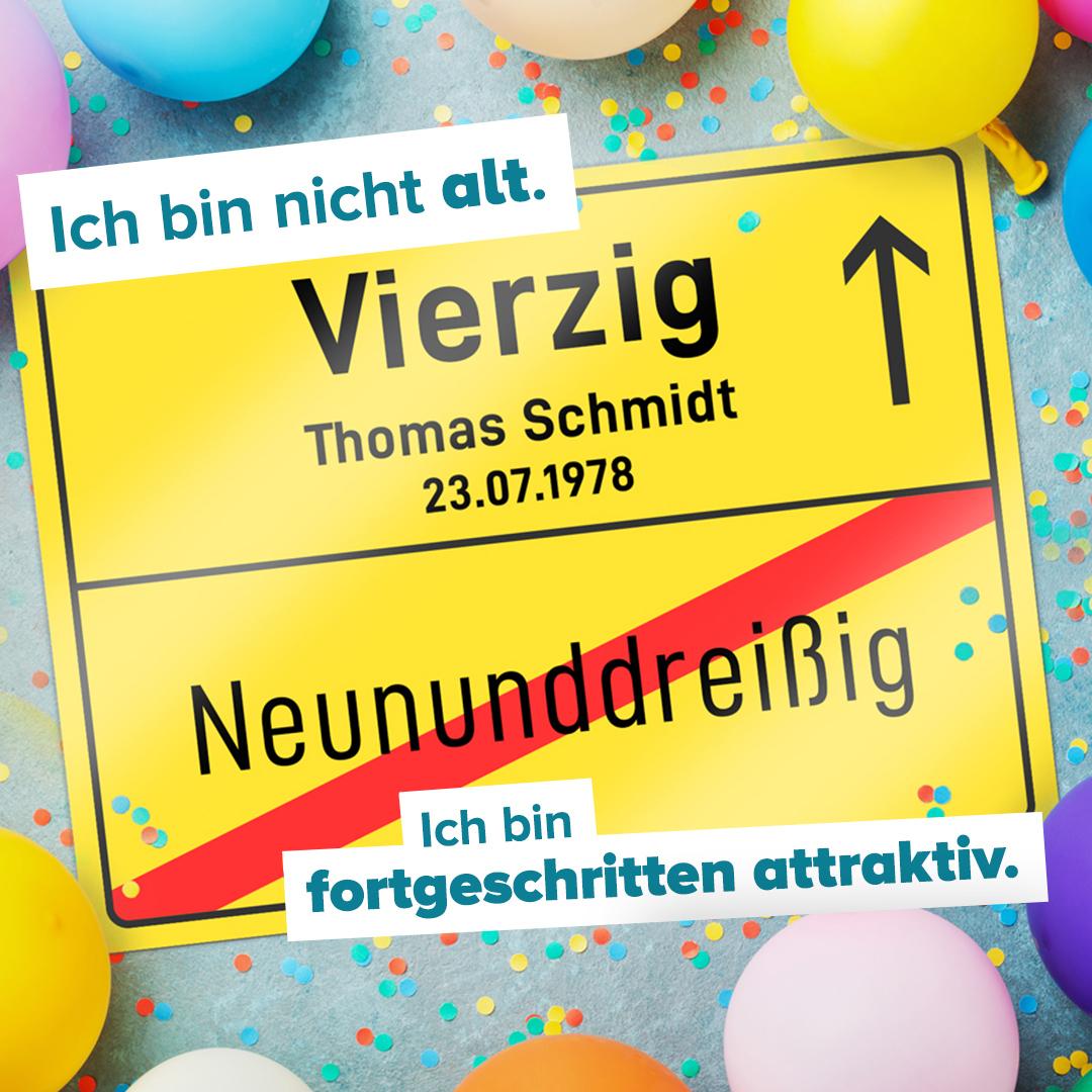 Personalisiertes Ortsschild - 40. Geburtstag - 2