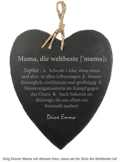 Schieferherz mit Gravur - Definition Weltbeste Mama - 2
