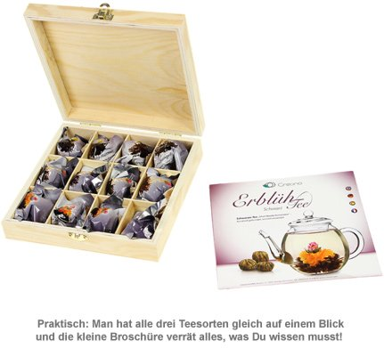 Erblühtee in edler Holzbox mit Gravur - Schwarztee - 3