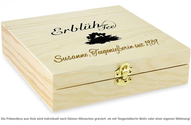 Erblühtee in edler Holzbox mit Gravur - Weißer Tee - 2