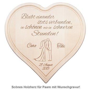 Holzherz zur Hochzeit - Paarsilhouette mit Treuespruch - 2