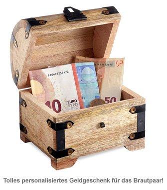 Geld Schatztruhe zur Hochzeit - Liebestauben Gravur - 2