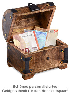 Geld Schatztruhe zur Hochzeit Dunkel - Jawort Gravur - 2