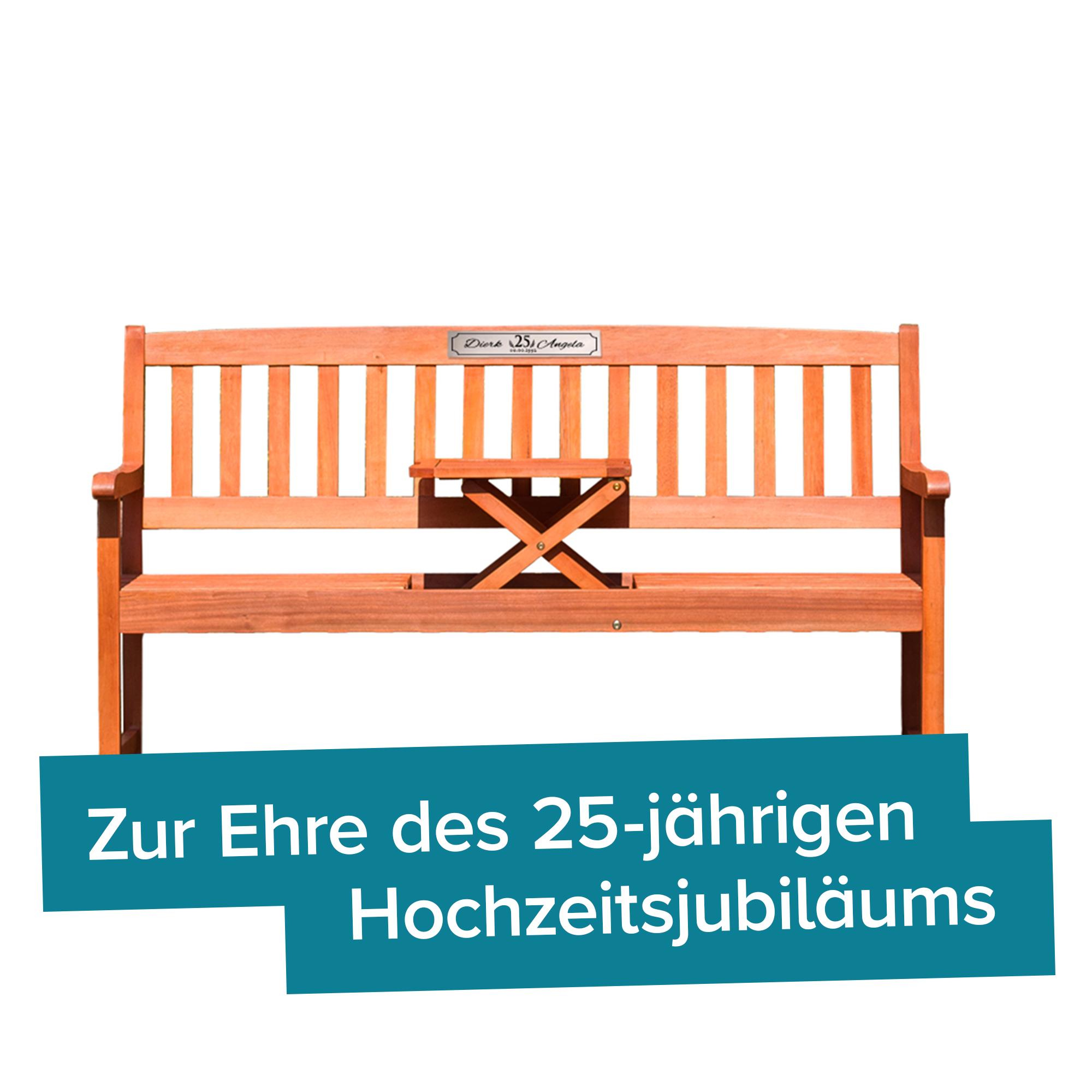 personalisierte hochzeitsbank zur silberhochzeit mit gravurplakette. Black Bedroom Furniture Sets. Home Design Ideas