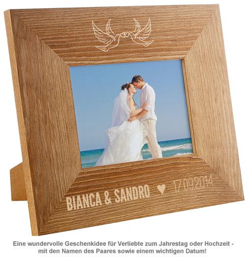 Personalisierter Bilderrahmen für Paare - Liebestauben - 2