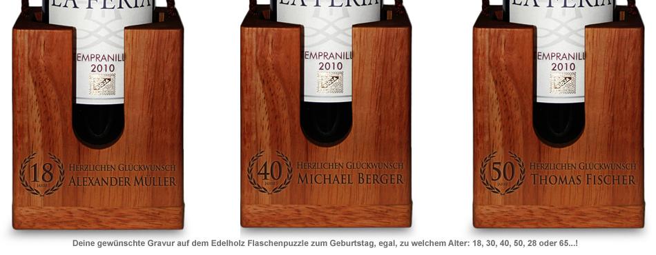 Graviertes Edelholz Flaschenpuzzle zum Geburtstag - 2