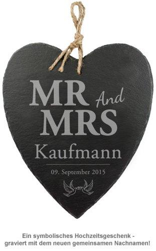 Schieferherz mit Liebestauben Gravur - Mr and Mrs - 2