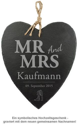 Schieferherz mit Silhouetten Gravur - Mr and Mrs - 2