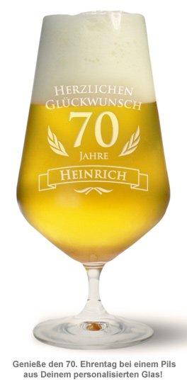 Bierglas Zum 70 Geburtstag Mit Namen Alter Graviertes Glas