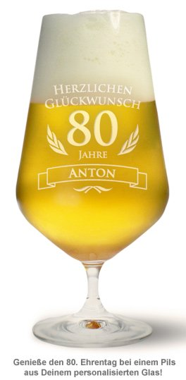 Bierglas zum 80. Geburtstag - 2