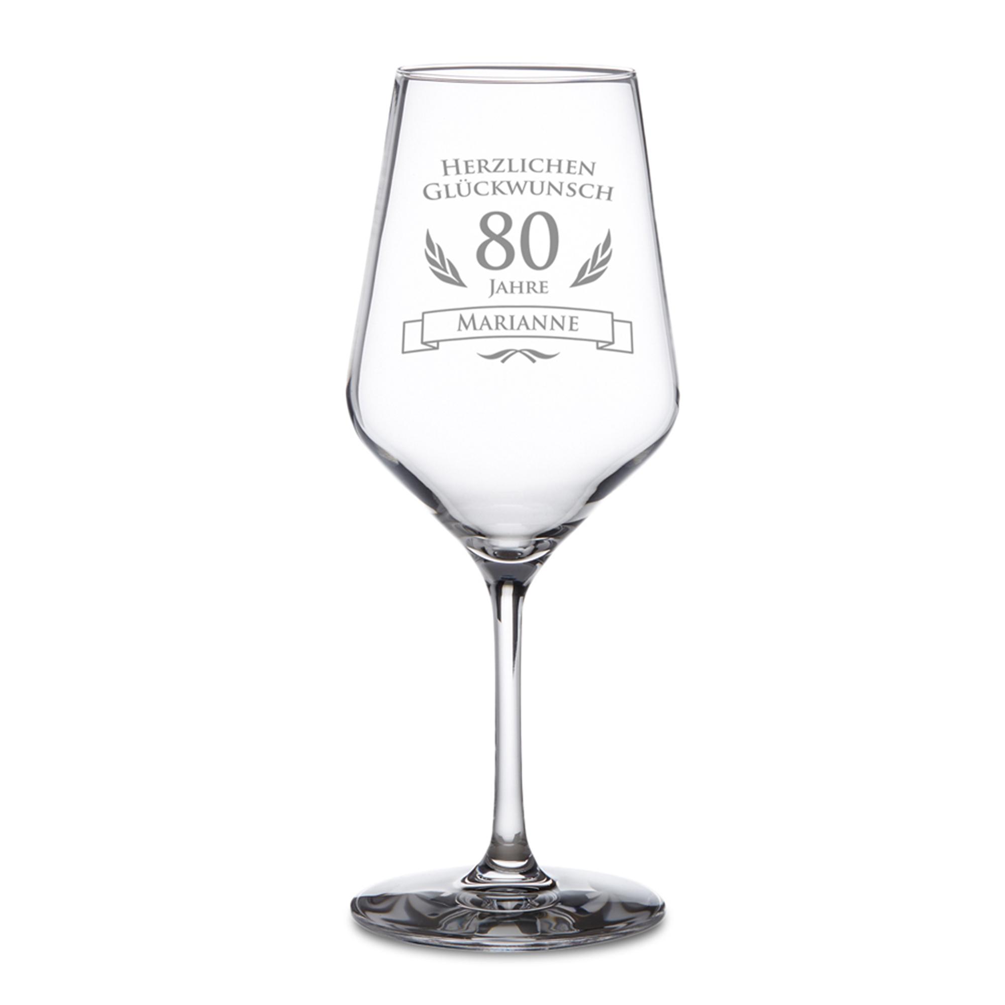 Weißweinglas zum 80. Geburtstag - 2