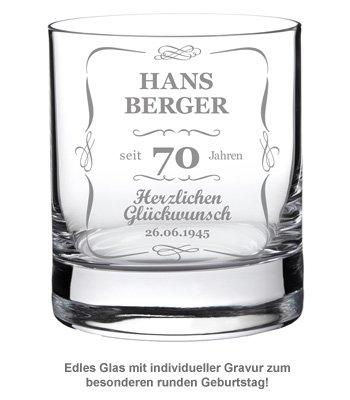 Whiskyglas 70. Geburtstag - klassisch - 2