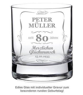 Whiskyglas 80. Geburtstag - elegant - 2