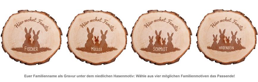 Baumscheibe mit Gravur - Hasenfamilie - 2